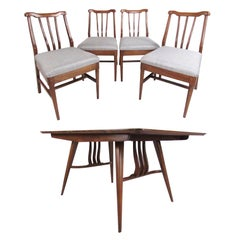 Vintage Modern Sculptural Walnut Dining Room Set