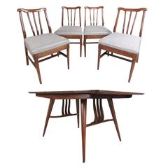 Vintage Modern Sculptural Walnut Dining Room Set
