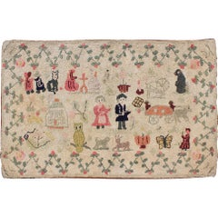 Antique American Hooked Rug Featuring Colorful Village Scene