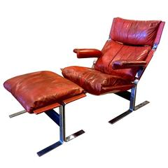 Saporiti Lounge Chair and Ottoman in Original Leather