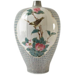 Large Japanese Baluster Kutani Porcelain Vase By Master Artist