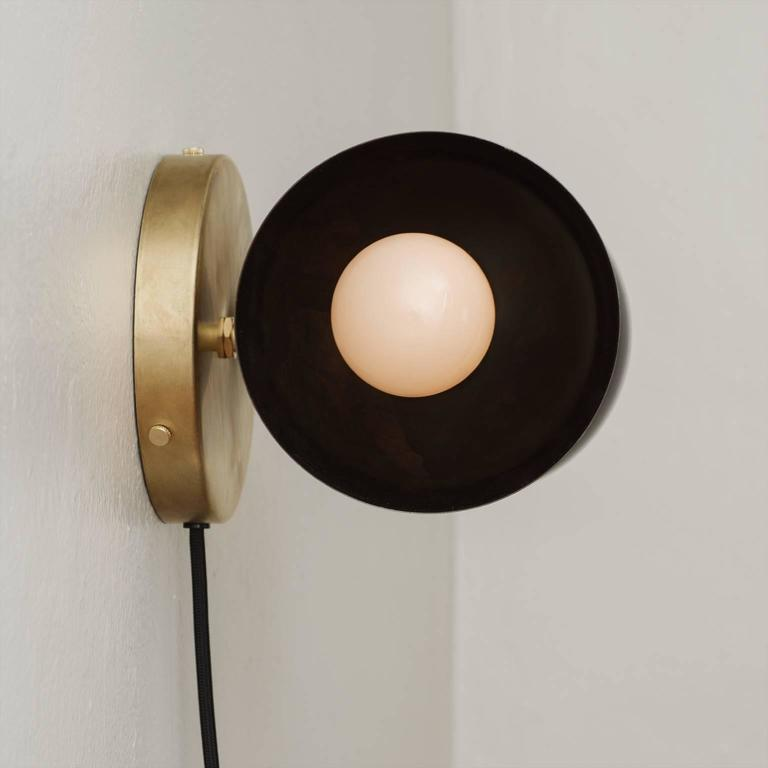 Spun Brass and Blackened Steel Lacquered Bone Wall Sconce In New Condition For Sale In Portland, OR