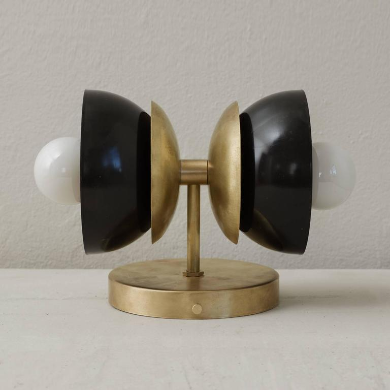 Contemporary Spun Brass and Blackened Steel Lacquered Bone Wall Sconce For Sale