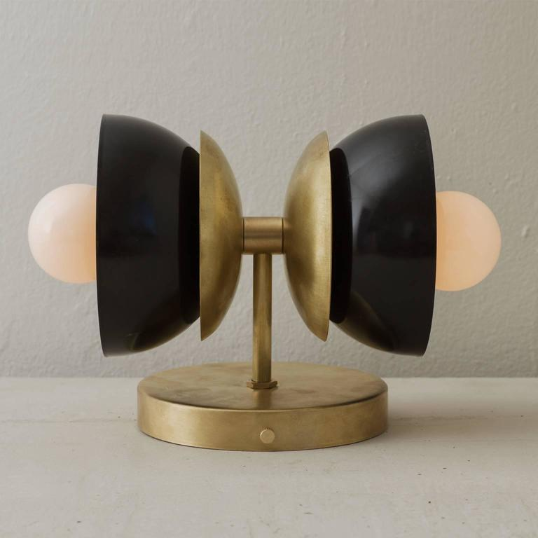 Spun Brass and Blackened Steel Lacquered Bone Wall Sconce For Sale 1