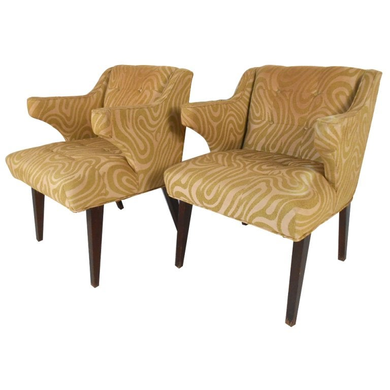Vintage Modern Decorator Side Chairs With Sculpted Arms