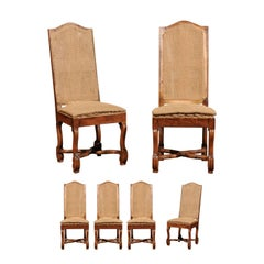 Set of Six 1920s French Os de Mouton Tall Back Side Chairs with Cross Stretchers