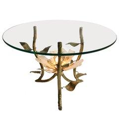 Gilt Metal Side Table with Leaf Motif & Illuminated Rock Crystal Floral Detail