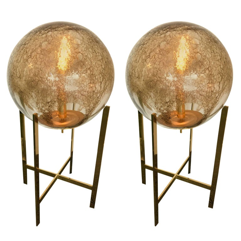 Brass Floor Lamps by La Murrina Murano Glass, Italy, 1990s For Sale