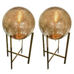 Pair of Brass Floor Lamps by La Murrina Murano Glass, Italy, 1990s