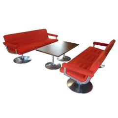 Set of Red Lounge Sofas Pure Scandinavian Modernism from Finland, 1970s
