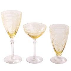 1930's Fostoria June Pattern Topaz Glass Set