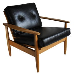 Danish Midcentury Armchair in New Italian Leather Upholstery