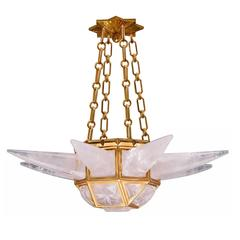 Fine Carved Contemporary Rock Crystal Quartz Chandelier