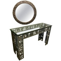 Mixed Metal Console and Mirror