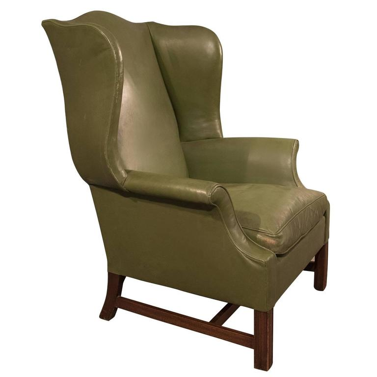 Leather Armchair Large Wing Gentlemanu0027s Chair English Victorian, Circa 1900  For Sale