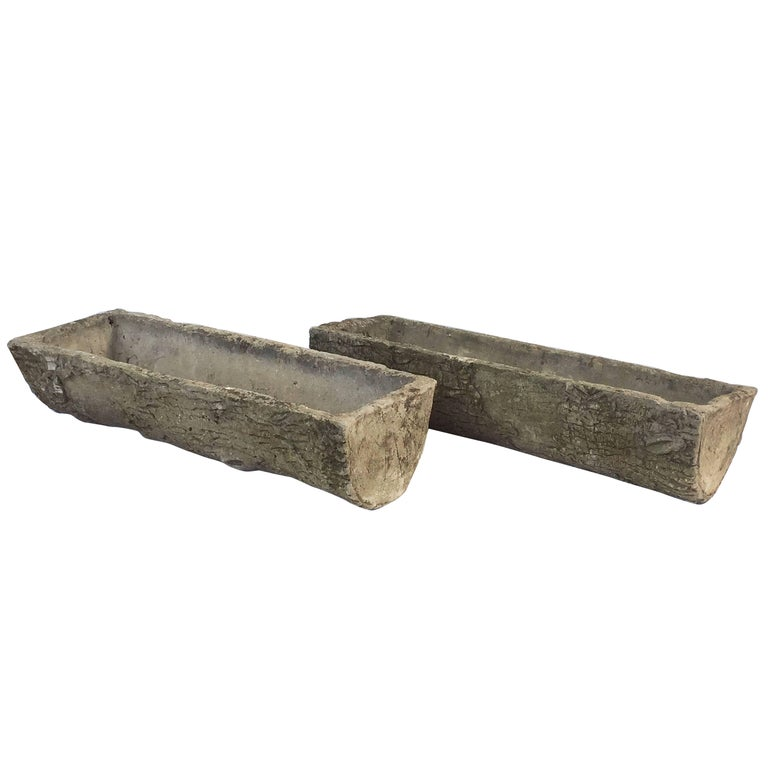 Large English Garden Stone Faux Bois Log Planters Individually