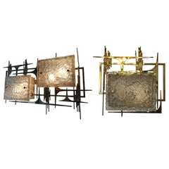 Pair of Dallux and Brass Sconces