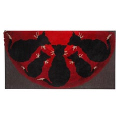 1900-1920 Pictorial Cats/ Yarn Hooked Rug