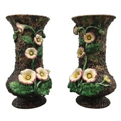 Pair of Palissy Ware Floral Vases, Europe, Late 19th Century