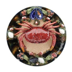Portuguese Palissy Style Majolica Plate with Crab and Mussels, circa 1950