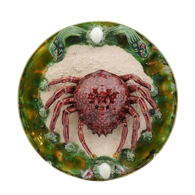 Palissy Style Majolica Plate with Red Sea Spider in High Relief, circa 1950