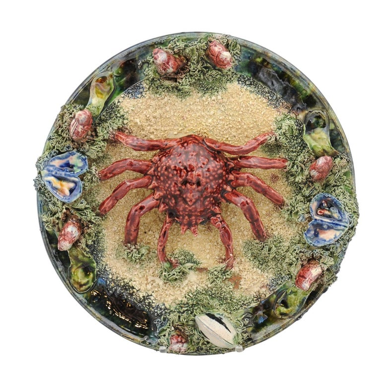 1920s Palissy Style Glazed Majolica Decorative Plate with Sea Spider and Clams