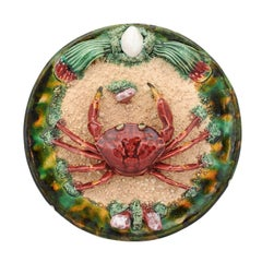 Portuguese Bernard Palissy Style Majolica Plate with Crab Motif, Circa 1920