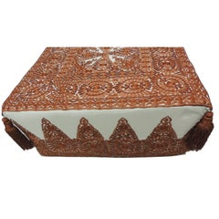 Modern Moroccan Burnt Orange Embroidered Ottoman with Tassels