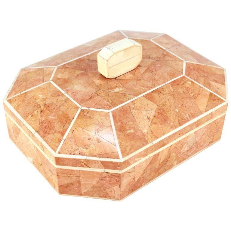 Octagonal Peach Stone Box with Bone Detail 1