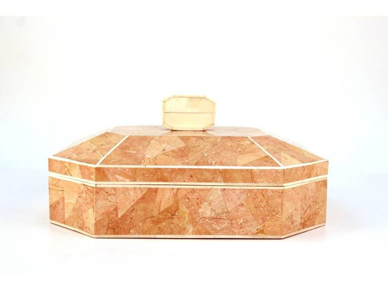 Octagonal Peach Stone Box with Bone Detail 2