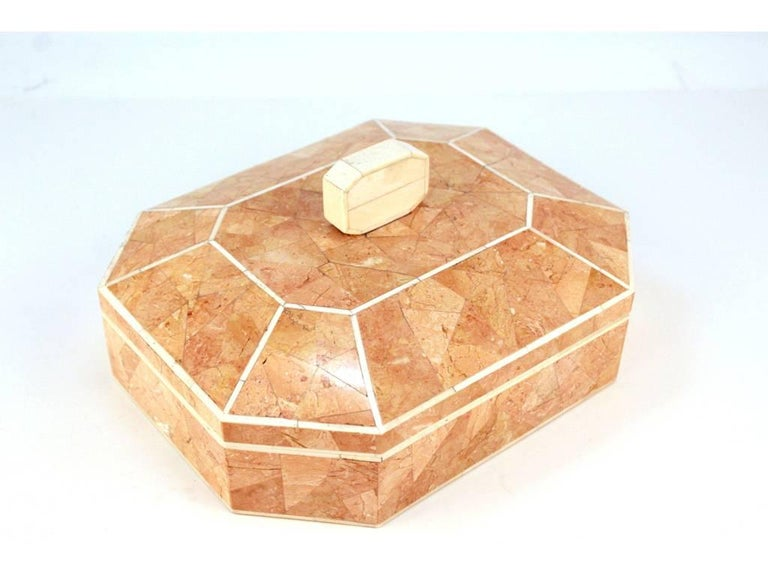 Octagonal Peach Stone Box with Bone Detail 3