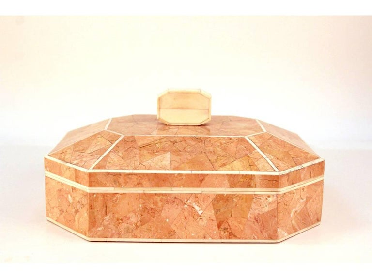 Octagonal Peach Stone Box with Bone Detail 4