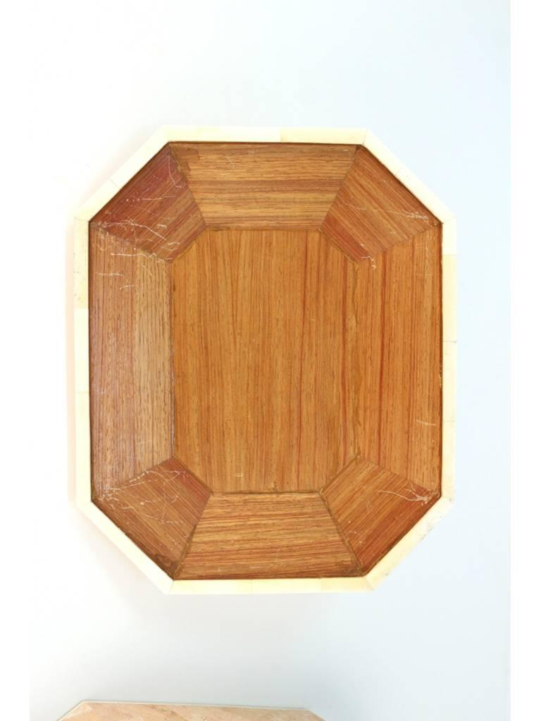 Octagonal Peach Stone Box with Bone Detail 7