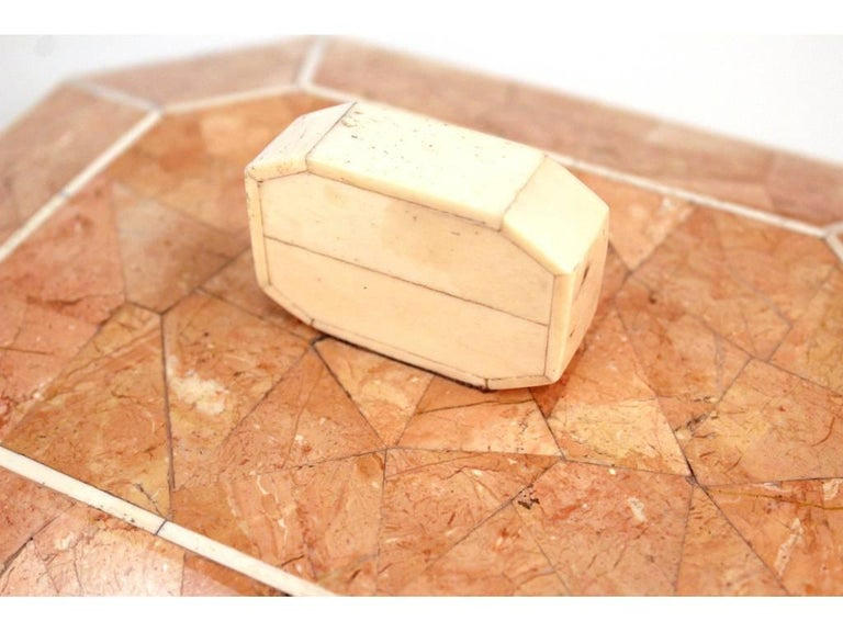 Octagonal Peach Stone Box with Bone Detail 8