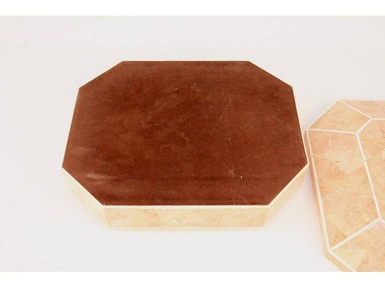 Octagonal Peach Stone Box with Bone Detail 10