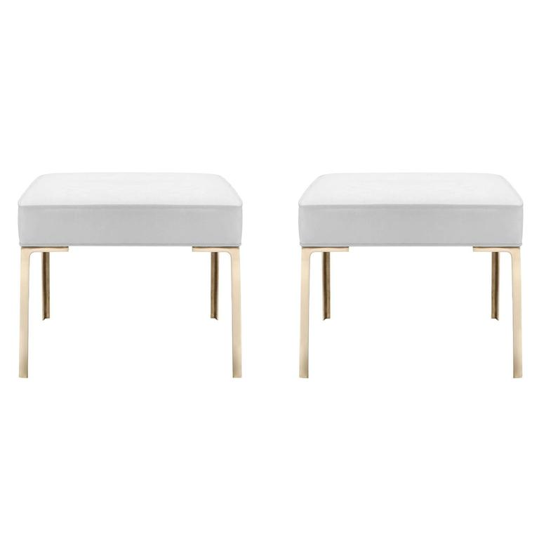 Astor Brass Ottomans in Dove Luxe-Suede by Montage, Pair