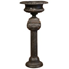19th Century French Napoleon III Black Iron Medici Vase on Carved Matching Base