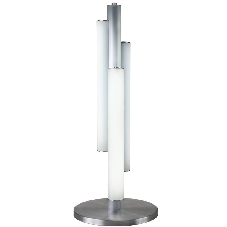 Triple white glass cylinder table lamp in art deco style with satin triple white glass cylinder table lamp in art deco style with satin aluminum for sale mozeypictures Choice Image