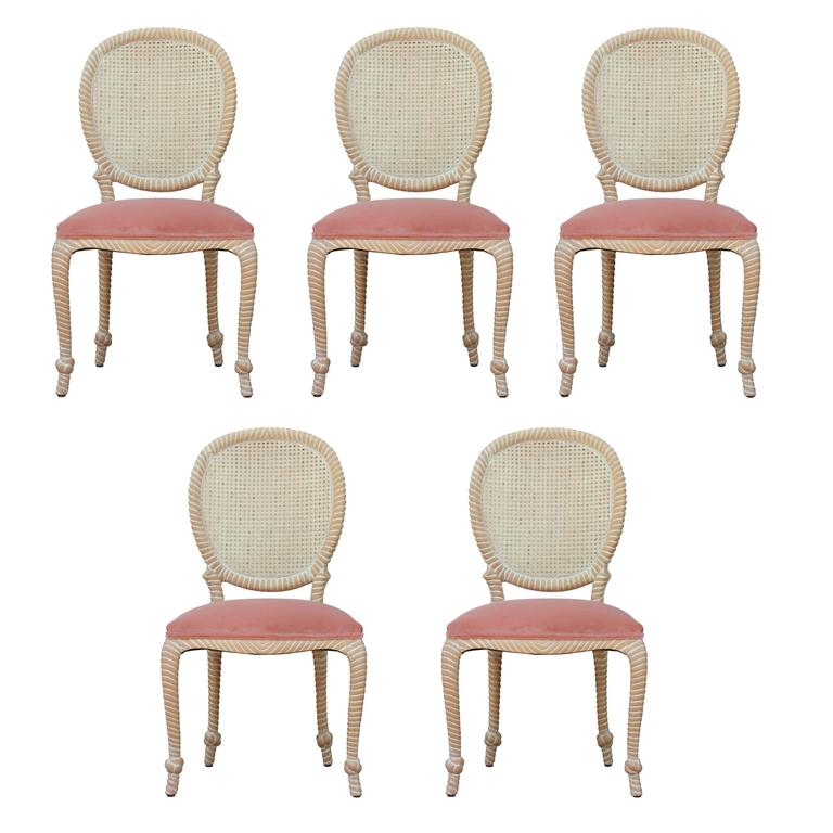Set of Five / Four Cane Back Rope Dining Chairs in Pink Velvet and Bleached