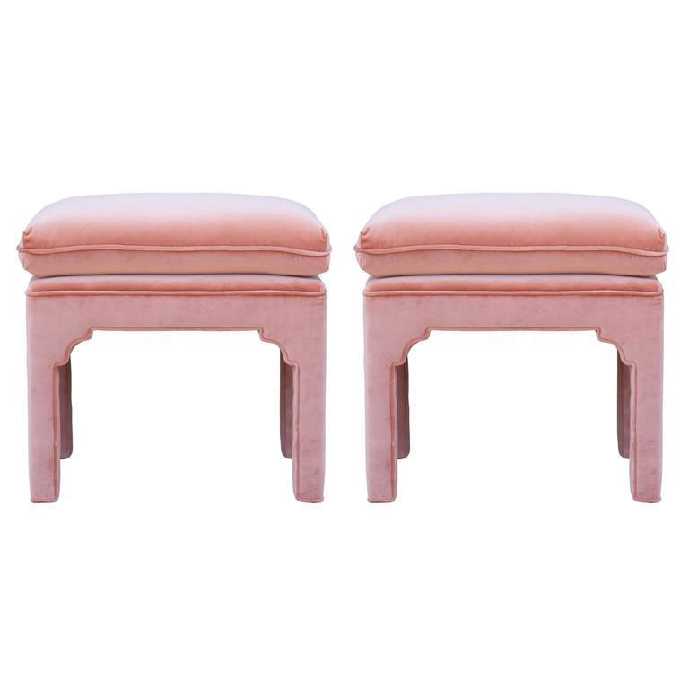 Favorite Pair of Modern Fully Upholstered Light Pink Velvet Footstools  WU44