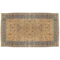 Antique Lavar Kerman Carpet, Fine Persian Oriental Rug Light Blue, Gold and Navy