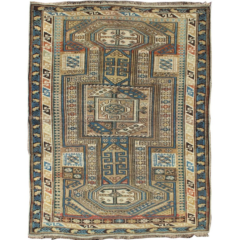 Old, Caucasus Kilim Kazak With Magic Colours For Sale At