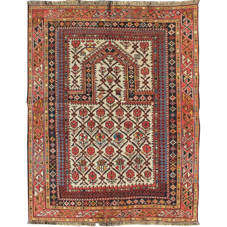 Antique Shirvan Prayer Rug with All-Over Floral Design and Geometric Borders