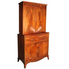 American Federal Inlaid Mahogany Bookcase Secretary, 19th Century