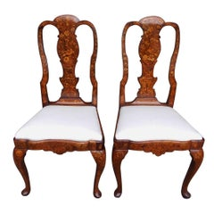 Pair of English Queen Anne Walnut Marquetry Upholstered Side Chairs, Circa 1740