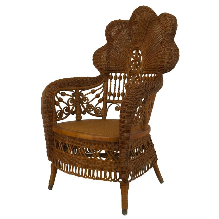 19th c. Heywood Brothers Fanned Back Wicker Armchair