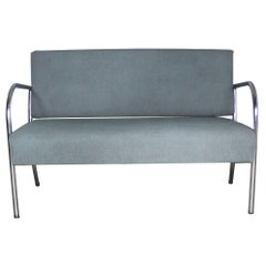 Art Deco Machine Age Streamline Moderne Royal Metal Chrome and Vinyl Bench Sofa