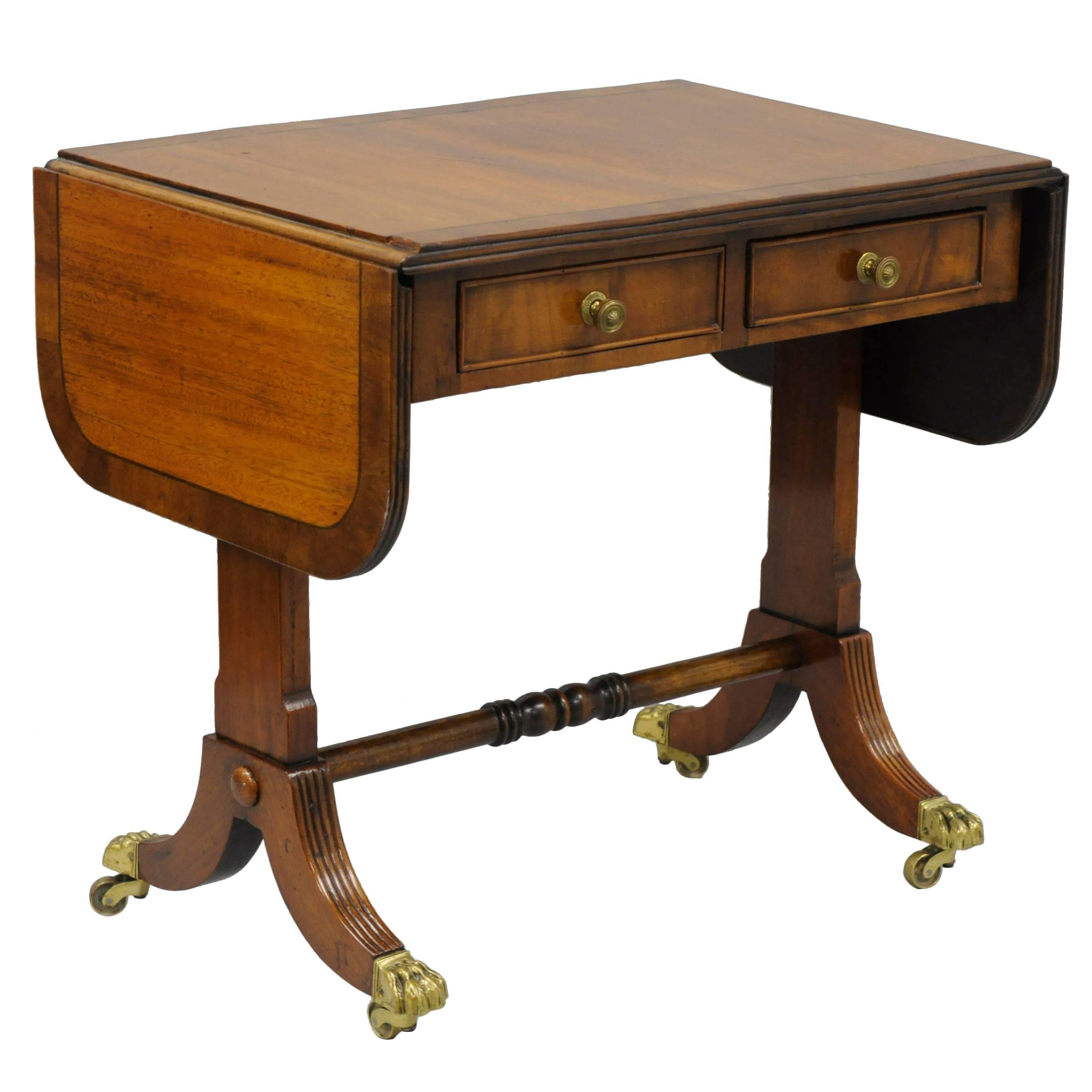 Small Handmade English Regency Style Mahogany Drop Leaf Sofa Hall Coffee  Table 1