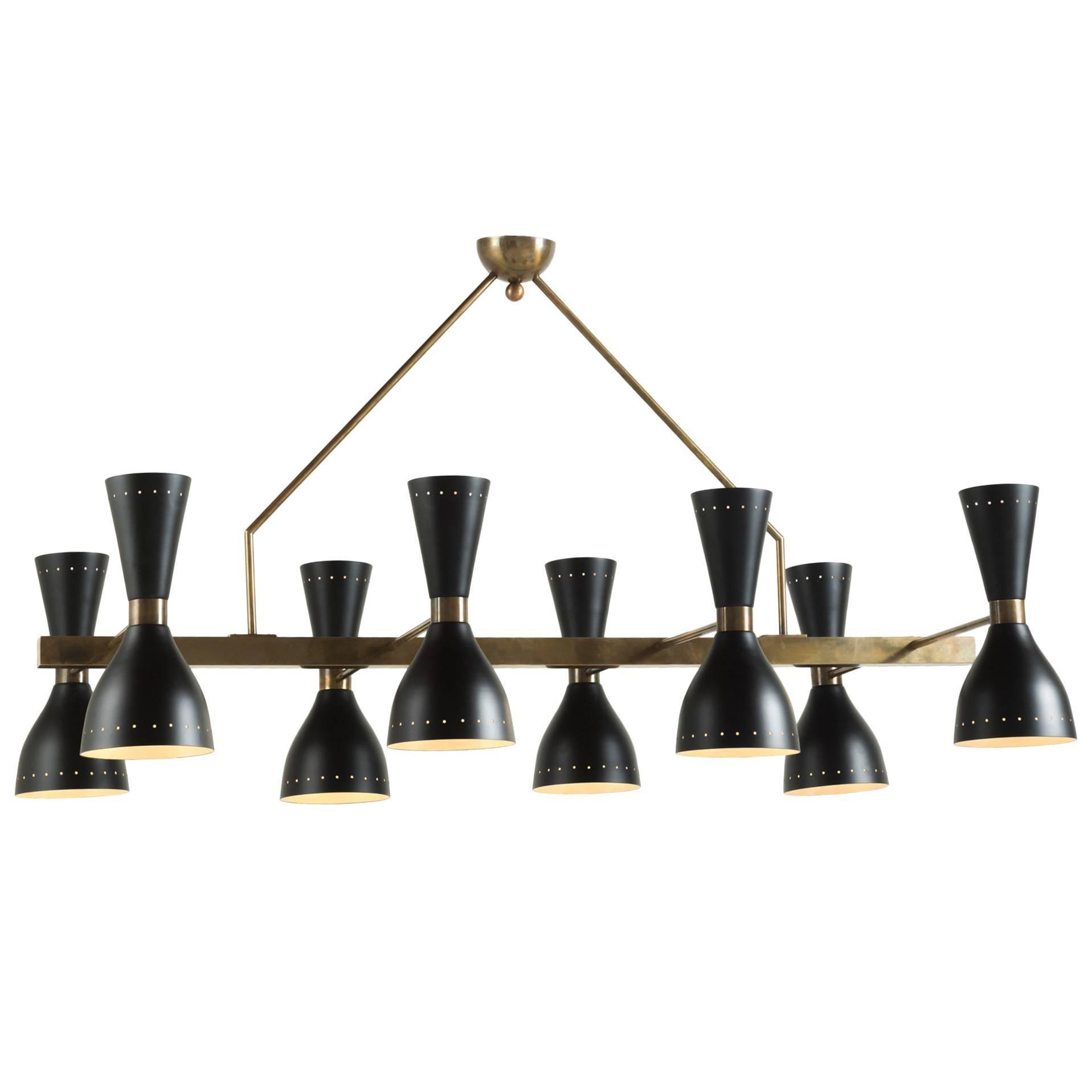 Black & Brass 8-Shade Chandelier, Italy, 21st Century