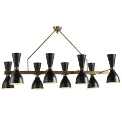 Black & Brass 8-Shade Chandelier, Italy, 21st Century